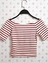 Tee-shirt Aux femmes,Rayé Décontracté / Quotidien Sexy / Chic de Rue Eté Manches Courtes Bateau Rouge / Noir Coton / Polyester Fin