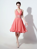 Cocktail Party Dress A-line V-neck Knee-length Chiffon with Beading / Ruffles / Side Draping / Criss Cross