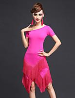 Latin Dance Dresses Women's Performance Chinlon Tassel 1 Piece Black / Fuchsia / Purple /  Blue Short Sleeve Natural