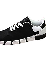 Men's Shoes Cowhide / Tulle Outdoor / Casual Flats Outdoor / Casual Walking Flat Heel Others / Lace-up Black /