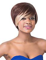 European Spiffy Short Sythetic Brown Ombre Straight Side Bang Party Wig For Women