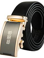 Katusi New Mens Black Ratchet Belt Fashion Business Casual Style Genuine Leather 3.5cm Width 5