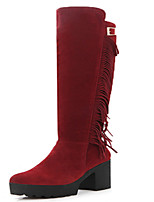 Women's Shoes Chunky Heel Riding Boots / Slouch / Round Toe Boots Dress Black / Red