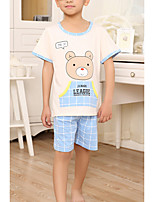 Boy's Casual/Daily Print Clothing Set,Cotton Summer Blue