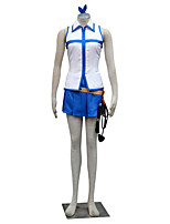 Inspiré par Fairy Tail Lucy Heartfilia Anime Costumes Cosplay Costumes Cosplay Couleur Pleine Blanc / Bleu Sans Manches Top / Jupe