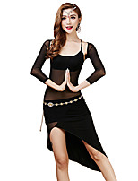 Belly Dance Dresses Women's Training Tulle / Modal Draped 3 Pieces Black / Burgundy