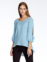 Women's Going out Simple Summer Blouse,Solid Round Neck ¾ Sleeve Blue Polyester Thin