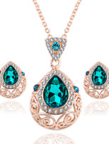 Luxury Green Gem Austrian Crystal Jewelry Sets Drop Necklace Earrings Set For Women Party Wedding Gifts