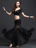Belly Dance Outfits Women's Performance Lace 3 Pieces Black / Green / Red / Royal Blue / White Short Sleeve