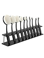 Oval Makeup Brushes Acrylic Display Holder Stand Storage Organizer Brush Showing Acrylic Rack + 10PCS Makeup Brush Set