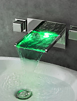 Wall Mounted Water Faucet Chrome Finish Color Changing LED Water Taps Waterfall Bathroom Sink Faucet