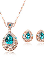 Hollow Drop Shape Rhinestone Pendant Necklace & Earrings Jewelry Set