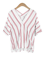 Women's Casual/Daily Vintage / Street chic Summer Blouse,Striped V Neck ¾ Sleeve Blue / Pink / Black Cotton / Rayon Thin