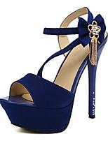 Women's Shoes Suede Summer Peep Toe Sandals Party & Evening / Dress Stiletto Heel Buckle Black / Blue
