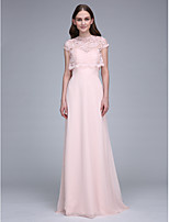 Lanting Bride Sweep / Brush Train Chiffon Bridesmaid Dress Sheath / Column Sweetheart with Lace