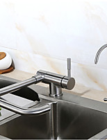 Contemporary Standard Spout Vessel Widespread Rotatable with  Ceramic Valve Single Handle Chrome , Kitchen faucet
