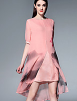 Boutique S Going out Sophisticated Swing Dress,Print Round Neck Asymmetrical ½ Length Sleeve Pink Silk Summer