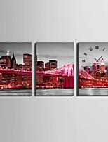 Rectangulaire Moderne/Contemporain Horloge murale,Autres Toile35 x 50cm(14inchx20inch)x3pcs/ 40 x 60cm(16inchx24inch)x3pcs/ 50 x