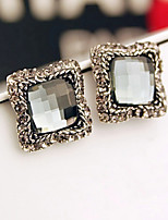 Antique Silver Square Shape Rhinestone Stud Earrings for Lady