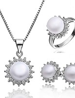 Platinum Plated diamond ball flower pearl jewelry set for women party necklace/ring/earring Bridal Jewelry Sets S002