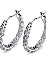 New Platinum Plated AAA Cubic Zirconia Micro Pave Setting Hoop Earrings Lead Free Nickel Free