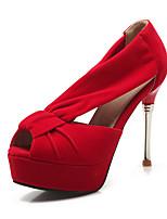 Women's Shoes Stiletto Heel Heels / Peep Toe / Platform Heels Wedding / Party & Evening / Dress Black / Blue / Red