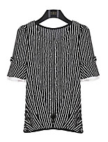 Women's Casual/Daily Plus Size / Street chic Summer Blouse,Striped Round Neck ¾ Sleeve Black Polyester Medium