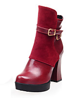 Women's Shoes Winter Fashion Boots / Round Toe Boots Party & Evening / Dress Chunky Heel Buckle / Zipper Black / Red