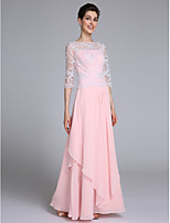 Lanting Bride Sheath / Column Mother of the Bride Dress Floor-length Half Sleeve Chiffon with Lace / Ruffles