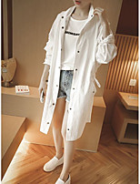 Women's Casual/Daily Simple Trench Coat,Solid Shirt Collar Long Sleeve Fall Pink / White Cotton / Polyester Thin