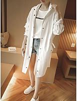 Trench Aux femmes,Couleur Pleine Décontracté / Quotidien simple Manches Longues Col de Chemise Rose / Blanc Coton / Polyester Fin Automne