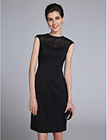 Lanting Bride Sheath / Column Mother of the Bride Dress Knee-length Sleeveless Satin with Beading