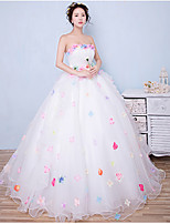 볼 드레스 웨딩 드레스 바닥 길이 끈없는 스타일 오간자 와 아플리케