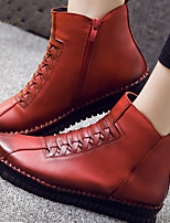 Women's Shoes Leather Winter Round Toe Boots Casual Flat Heel Zipper Black / Brown / Red