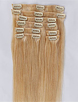 #613 Bleach Blonde Color Clips in Straight Brazilian Human Hair Machine Made Wefts Full Head Hair Extensions