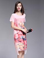 BOMOVO® Women's Round Neck Short Sleeve Knee-length Dress-B16XQI2