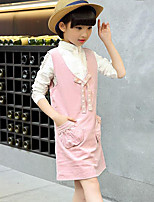 Girl's Casual/Daily Solid Dress,Cotton / Rayon Winter / Spring / Fall Pink / Gray