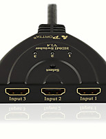 PORTTA HDMI 3x1 Switch with Pigtail Support Full 3D and 4K@30Hz (300MHz)