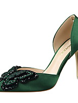 Women's Shoes Silk  Fall / Winter Comfort / Pointed Toe / Closed Toe Heels Casual Stiletto Heel BowknotBlack / Green /