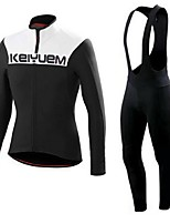 KEIYUEM® Winter Thermal fleece Long Sleeve Cycling Jersey+Long Bib Tights Ropa Ciclismo Cycling Clothing Suits #W48
