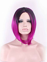 38CM Fashion Sexy Fluffy Ladies Synthetic Wig Women Tilted Frisette Short Hair Cosplay Wigs Black Rose Red Ombre