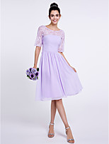 Lanting Bride Knee-length Chiffon Bridesmaid Dress A-line Scoop with Lace / Ruching