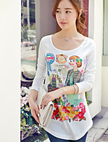 Pink Doll® Women's Slim Print Round Neck Long Sleeve T Shirt White-X14CTS221