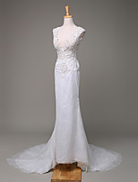 Trumpet / Mermaid Wedding Dress Court Train V-neck Lace with Beading / Lace