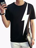 Men's Fashion Personalized Lightning Print O Neck Slim Fit Short-Sleeve T-Shirt;Casual/Print/Plus Size
