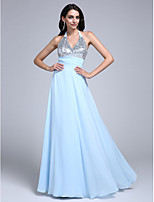 TS Couture® Formal Evening Dress Sheath / Column Halter Floor-length Chiffon with Ruching / Sequins