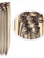 O cabelo sintético de extensão 7pcs / Set # 4/613 cor misturada 22inch 100g longo grampo de cabelo em linha reta sintética no cabelo