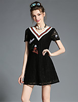 Plus Size Womens Clothing Elegant Fashion Embroidered Lace Deep V Neck A-Line Dress