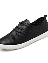 Women's Shoes PU Spring / Fall Styles / Round Toe Dress / Casual Flat Heel Black / White