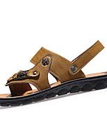 sapatos masculinos pu sandálias casuais casuais quadra coberta plana calcanhar outros preta / marrom / amarelo / cáqui
